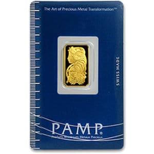 2.5 Gram PAMP Suisse Gold Bar (Front)